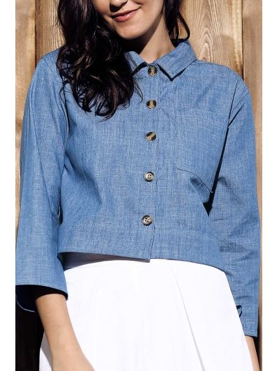 Long Sleeve Button Down Cropped Denim Shirt #womensfashion #pinterestfashion #buy #fun#fashion