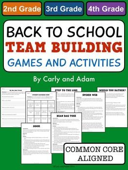 Back to School Boot Camp: Team Building Games and Activities This is a great product to begin building community in your classroom. Included in this pack are 7 team building games and activities for back to school. Some of the games could also double as activities for morning meetings.INCLUDED:-Student Interview Worksheet-Student Scavenger Hunt-Step to the Line Game-Bean Bag Toss-Would You Rather-Zoom Game-Spider Web ActivityOTHER BACK TO SCHOOL PRODUCTS:First Day Jitters Lesson and…