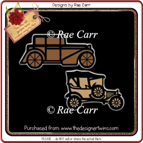 465 Two Antique Car Toppers Multiple MACHINE Formats : The Designer Twins ...where creativity encounters quality and value