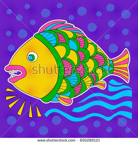 Bright decorative fish hand drawn vector. Illustration can be use for creating your own design,  cards, invitations, decorating websites and for the realization of other design ideas.