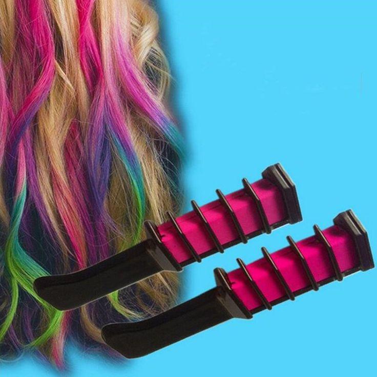 Nieuwe 4 Kleuren Haarverf borstel Haarverzorging Tijdelijke Haarverf Kammen Semi Permanente Haar Multicolor Krijt Poeder Met Kam