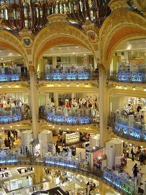 Galeries Lafayette - Paris, France. Bucket list: Have a glass of champagne on their roof terrace where and overlook the city.