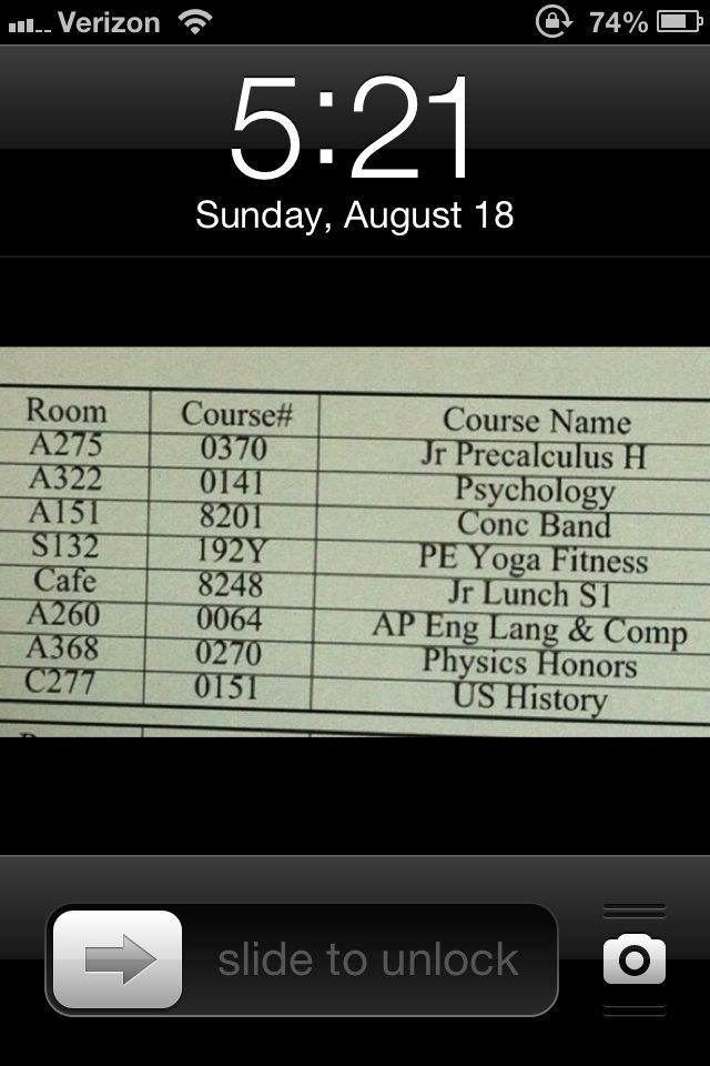 Set your phone lock screen to your schedule during your first week of class.