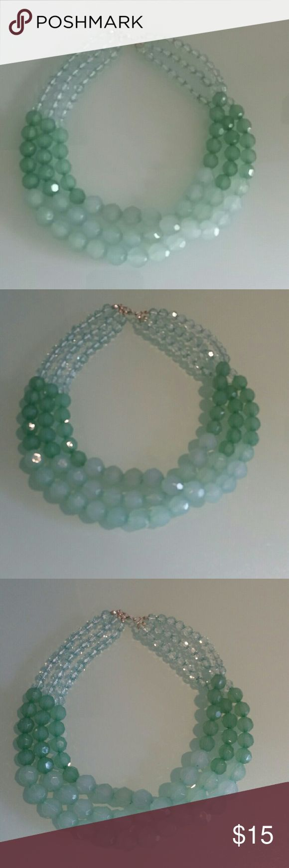 NWT Mint green 3 layer faceted statement necklace Brand new & unworn mint green 3 layers aceted statement necklace from Charlotte Russe in shades of green & aqua. Light & not at all heavy. Awesome statement piece! Charlotte Russe Jewelry Necklaces