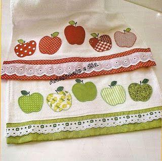 Artesanato e Cia : Panos de prato com apliques de maçãs