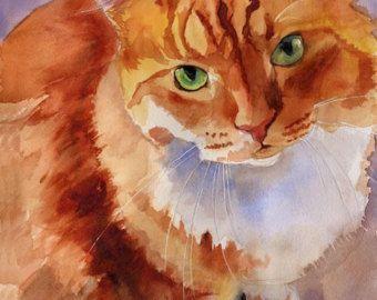 White Ginger Marmalade Tabby Cat art Print of my by rachelsstudio