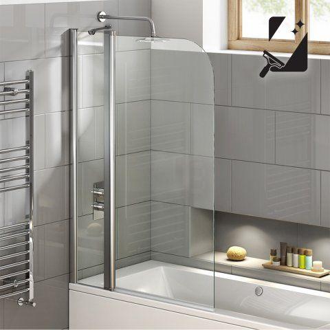 800mm EasyClean Straight Bath Screen & Towel Rail 6mm thick Glass - soak.com
