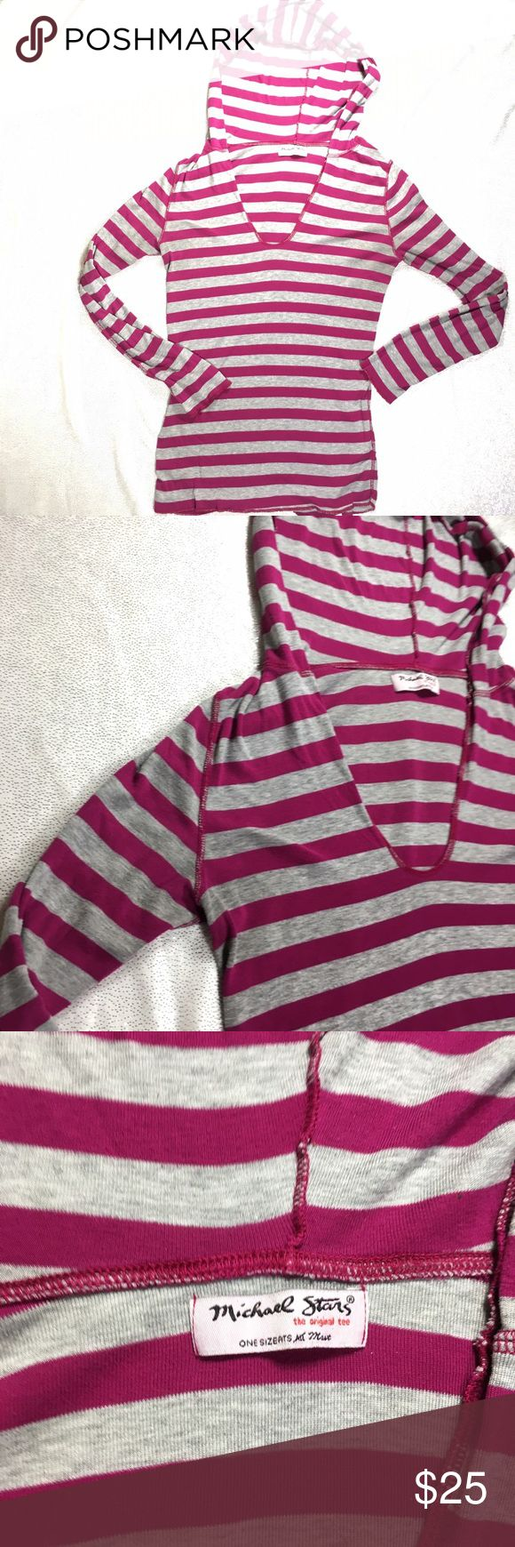 Michael Stars Hooded Long Sleeve Striped Tee Michael Stars, sold at anthro sometimes-not sure if this piece was, Striped Long Sleeve V Neck Tee with hood. Michael does this thing I'm not a fan of where he likes to make his closes OS or One Size. What the heck is that? I mean, yeah-it's one size but it's going to fit all the different sizes differently. Soft, and thin (but not sheer) this works well with jeans and hanging, or white pants/ white frayed jeans and going for a beach look. Michael…