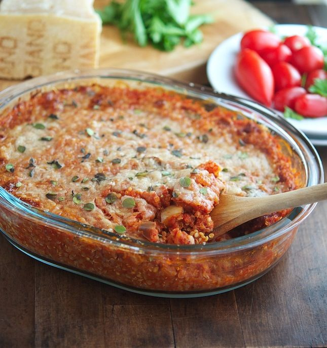 Eggplant Parmesan Quinoa Casserole - Someone really did their homework when putting together this amazing version of a delicious comfort food. Everyone in your family will love this!