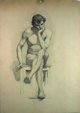 Untitled (Seated Male Nude), n.d., Carl von Marr, Museum of Wisconsin Art, 0115.