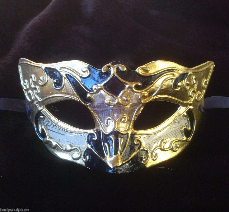 Black and Gold Venetian Columbina Musica Masquerade Mask for men and women new #Unbranded