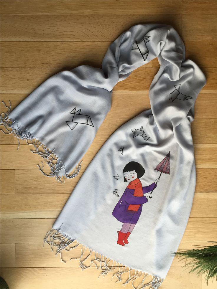 """""""Origami Rain"""" handpainted shawl"""