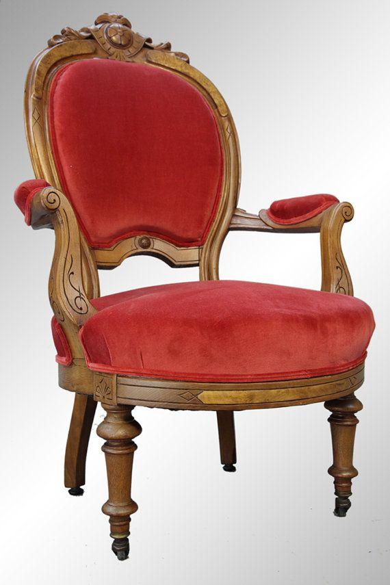 Antique Victorian Gentlemans Carved Burl Walnut Arm Chair From The Civil War Era   c.1860's