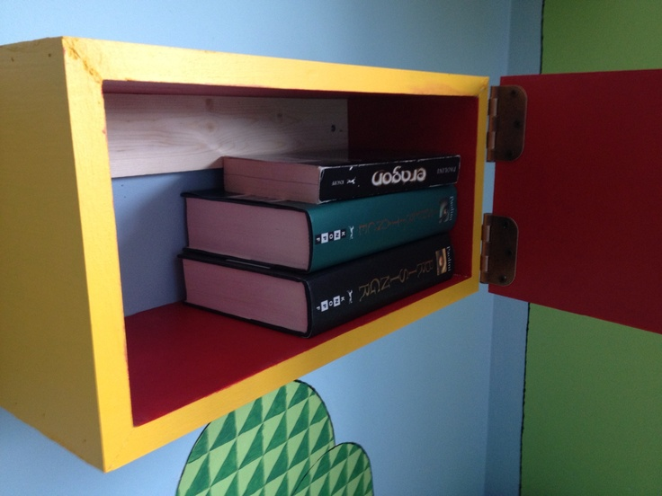 super mario room shelf with hinged door