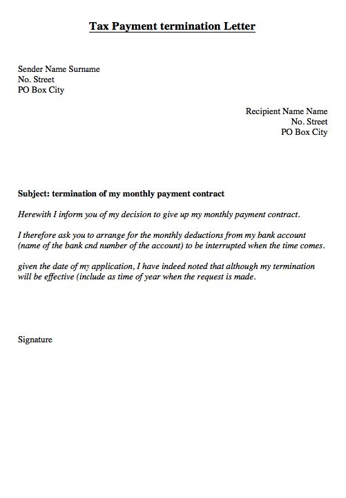 tax monthly payment of termination letter