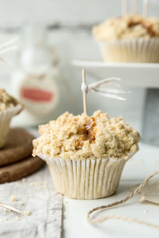 With apples, oozing caramel and crumble.The best muffins ever! | Bea's cookbook