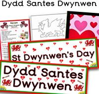 Dydd Santes Dwynwen teaching resources.  Dydd Santes Dwynwen is Welsh for St Dwynwen's Day. It is the Welsh version of St Valentine's Day and is annually celebrated on the 25th January . Dwynwen (female) is the Welsh saint of love. To support learning through Welsh folklore, Celtic tales, festivals and different cultures from around the world, we have made Dydd Santes Dwynwen resources for teachers  to use in the classroom.