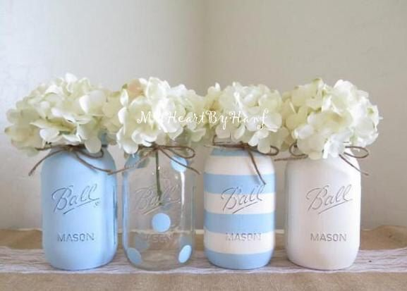 Baby Blue Baby Shower Decorations, Baby Shower Mason Jars, White and Blue Shower, Distressed Mason Jars, Polka Dots Decor, Centerpieces by MyHeartByHand on Etsy https://www.etsy.com/uk/listing/276707774/baby-blue-baby-shower-decorations-baby