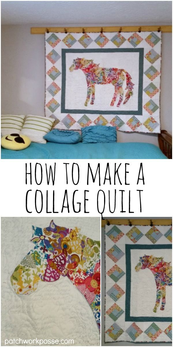 how to make a fabric collage quilt - hints, tips and more! These are so fun- love the horse! #fabriccollage #collageart #quilting #howto #collagequilt #artquilt #sewingproject