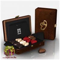 Набор элитных шоколадных конфет ручной работы Романтическая коллекция SAPPHIRE. Деревянная упаковка. Франция