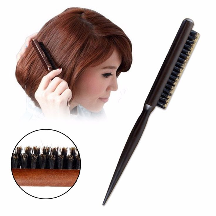 1Pc Women Girl Wood Handle Natural Boar Bristle Hair Brush Fluffy Comb Hairdressing Barber Tool A2
