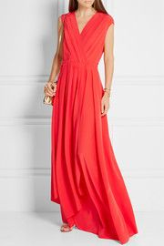 Pleated silk crepe de chine wrap gown