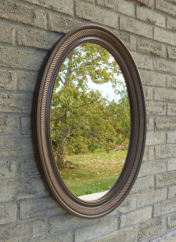 Wall Oval Mirror With Oil Rubbed Bronze Color Frame Bathroom