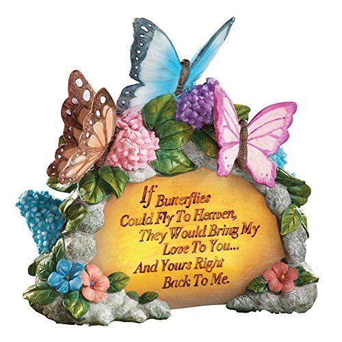Solar Floral Butterfly Memorial Garden Stone Memorial
