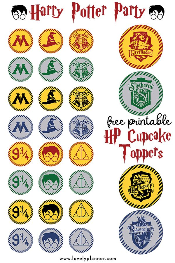 Free Printable Harry Potter Cupcake toppers | Harry Potter ...