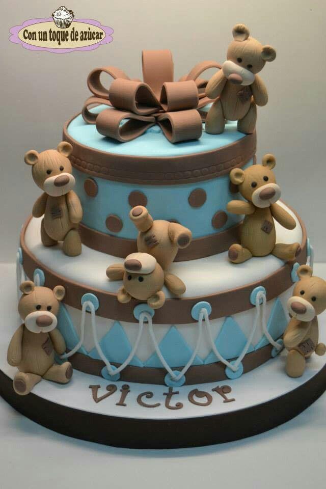 Baby shower cake. Teddy bear cake. Tarta bautizo. Tarta osos