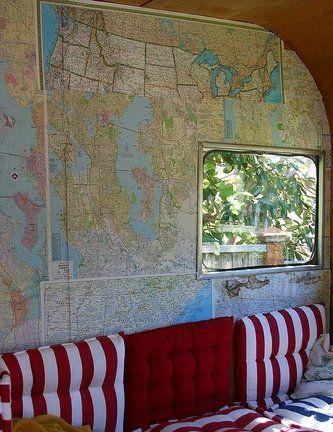 Love the idea of maps as wallpaper on an Airstream redo. ; )