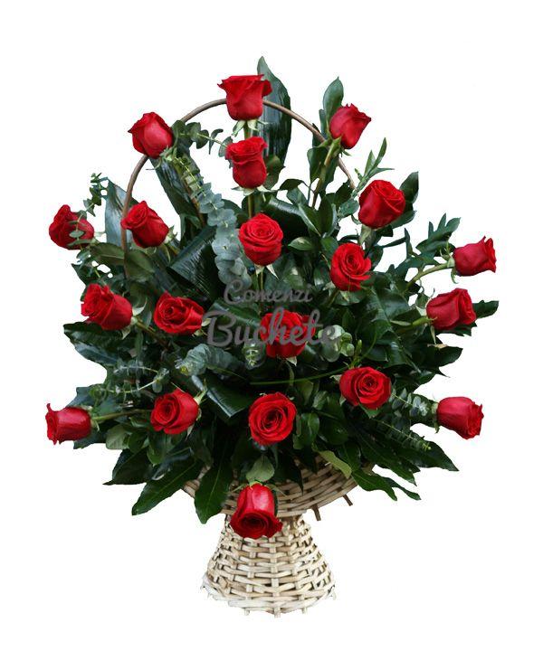 Cos 21 de trandafiri rosii, trandafiri de Ecuador, foarte rezistenti si cu un aspect deosebit.