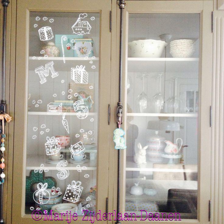 Sinterklaas decoratie/window painting/ raamtekening