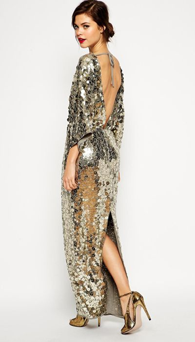 ASOS Red Carpet Premium All Over Sequin Kimono Maxi Dress, $284.25