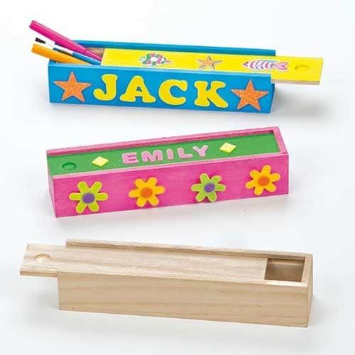 Wooden pencil boxes with sliding lid#Pencil box size 20cm x 5cm x 4cm#For best results decorate with our acrylic paint, Deco pens and stickers (not included)