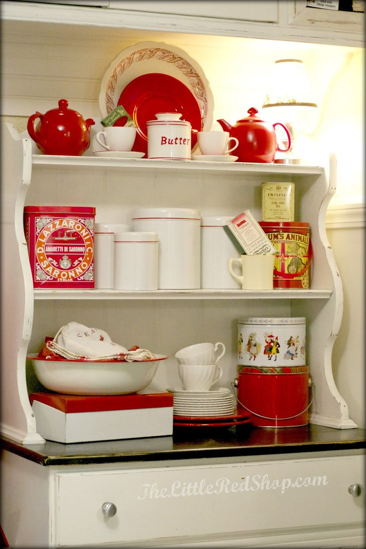 Red vintage kitchen accessories - The Little Red Shop Vintage Farmhouse Kitchen Before After
