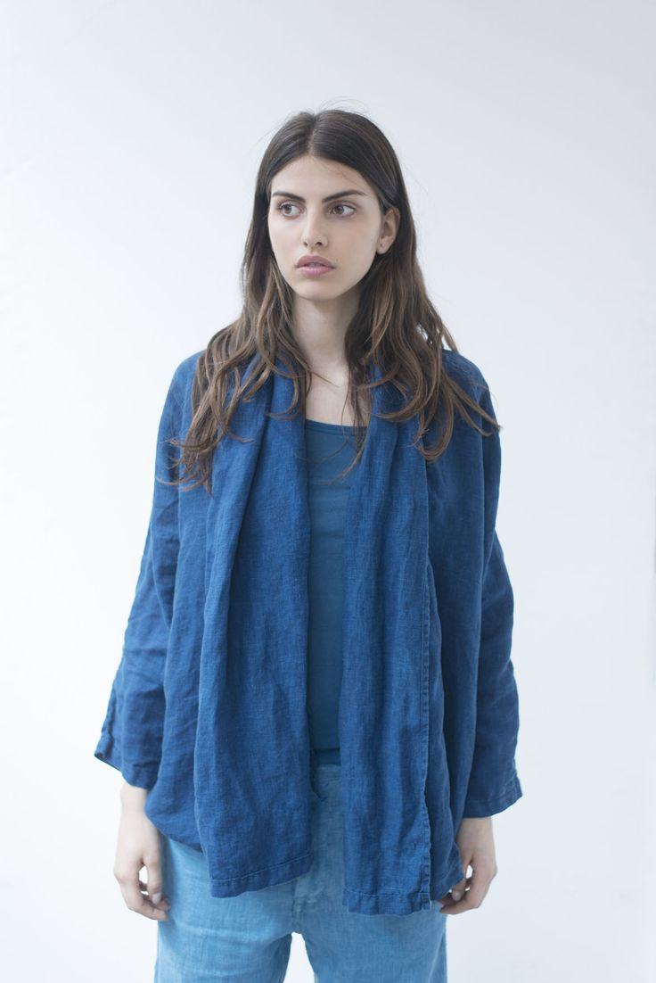 Here's a bit more about our Spring Summer Collection! And this one you can wear it multiway, the Short Kimono Scarf Jacket:    - Color: Natural Woad Blue, available in Light, Medium and Dark Blue  - Composition: 100% Linen of European Origin  - Fabric: Linen Canvas    This product has been hand dyed with natural woad.  Linen is a natural and noble fabric. Its culture has a low environmental impact. It provides comfort all year round.  All our products can be machine washed and light tumble…