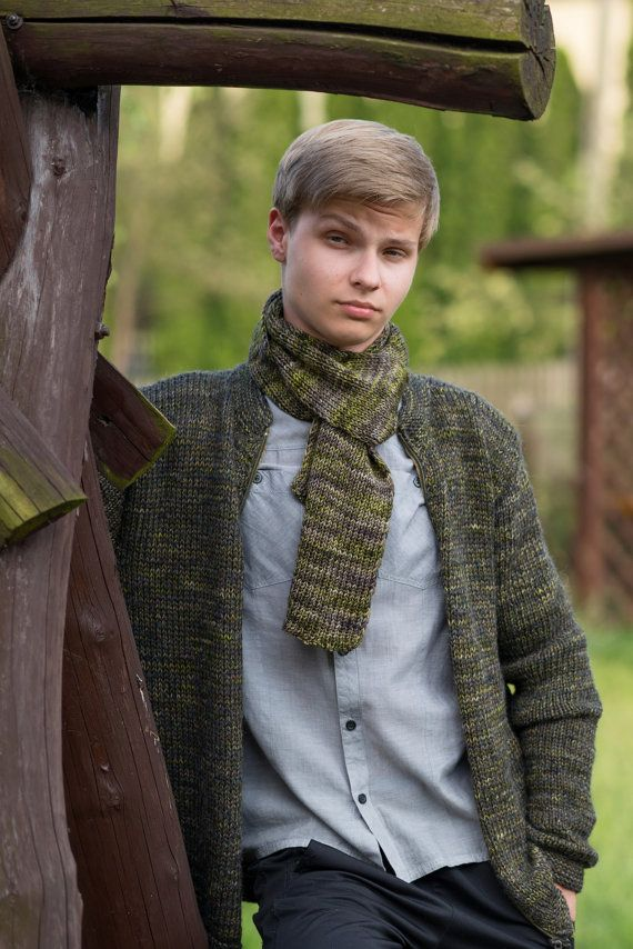 Men's  sweater in different shades of green / soft to the touch / Ready to ship