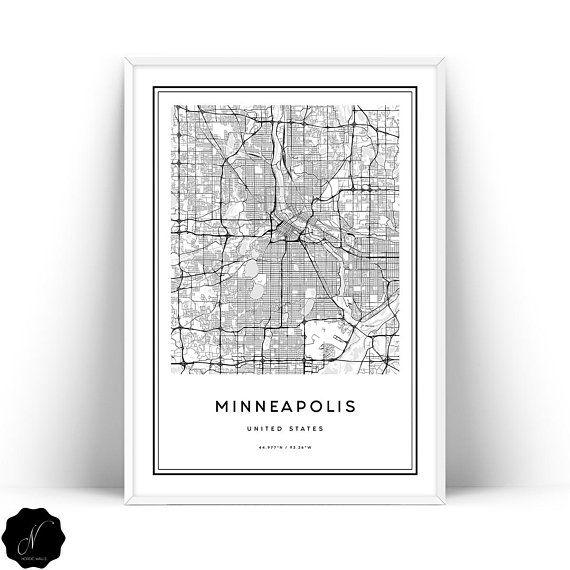 Minneapolis Map Printable Wall Art Map Of Minneapolis Wall Etsy Map Wall Art Minneapolis Map Minimalist Wall Art