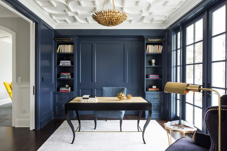 Navy blue paneled walls and trim in a transitional Home Office by City Homes Design and Build, LLC