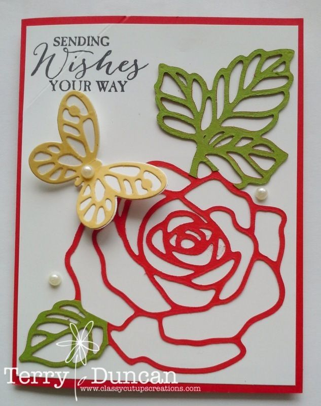 I made this diagonal pop-up card using the Rose Garden Thinlits Dies, the Butterflies Thinlits Dies, the Bold Butterfly Framelits Dies, and the Birthday Blooms Stamp Set from Stampin' Up!  See the inside of the card and pop-up on my blog.