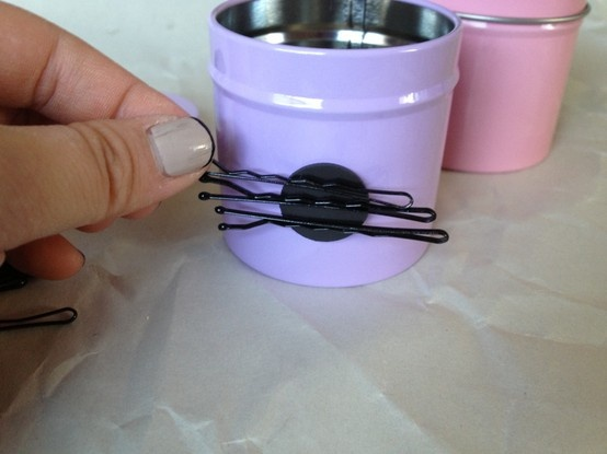 DIY hair tie organizer - a container for bands and magnets for bobby pins