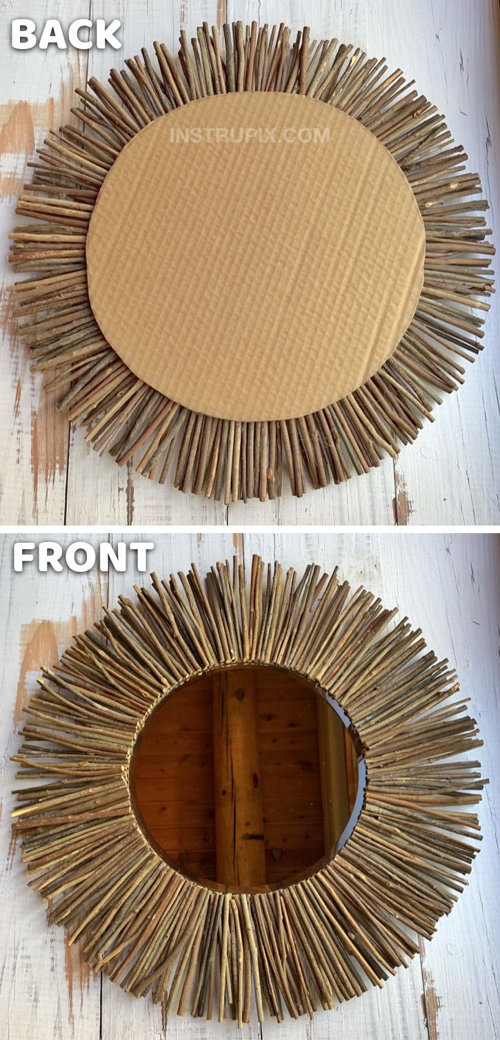 Diy Stick Framed Round Mirror Mirror Frame Diy Diy Mirror Decor Mirror Crafts