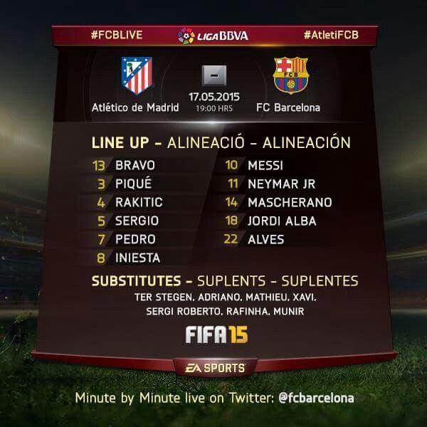 Alineación confirmadas, Atletico de Madrid vs Fc Barcelona, 17 de mayo.