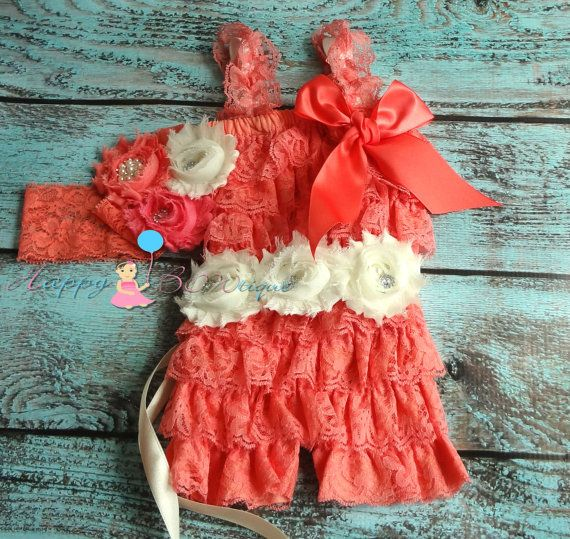 Coral Ivory Lace Petti Romper, baby girls romper, lace romper, newborn romper,birthday outfit,baby romper,toddler outfit, flower girl,Spring