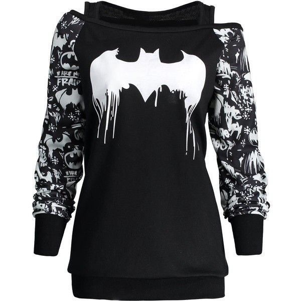 Black 5xl Plus Size Bat Print Halloween Sweatshirt (£9.21) ❤ liked on Polyvore featuring tops, hoodies, sweatshirts, mixed print top, womens plus tops, plus size tops, print sweatshirt and plus size print tops