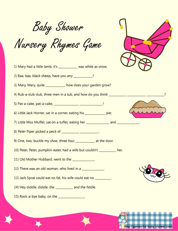 Baby Shower Bag Games Rhyme Game For Baby Shower In Pink Color If
