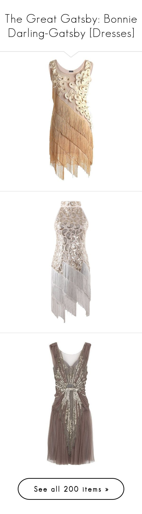 """""""The Great Gatsby: Bonnie Darling-Gatsby [Dresses]"""" by grandmasfood ❤ liked on Polyvore featuring dresses, 1920s dress, roaring 20s dress, fringe flapper dress, 1920s gatsby dress, 20s flapper dress, costumes, sequin flapper costume, white halloween costumes and flapper costume"""