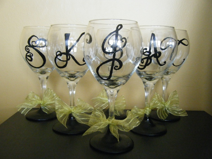 57 best diy wine glasses images on pinterest painting on for Painted wine glasses with initials