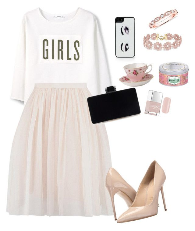 Beautifully ready for the tea party by creece-massoudi on Polyvore featuring polyvore, Mode, style, MANGO, Massimo Matteo, Blue Nile, BaubleBar, Kate Spade, Nails Inc., Royal Albert, Kusmi Tea, fashion and clothing